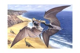 Illustration Representing Pair of Tropeognathus Flying Above Seashore