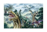Illustration Representing Group of Ultrasauros in Jurassic Landscape