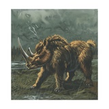 Woolly Rhinoceros (Coelodonta Antiquitatis) in Rain  Illustration