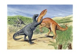 Illustration of Baryonyx Fighting