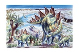 Illustration Representing Group of Stegosaurus in Jurassic Landscape