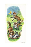 Red Fox Vulpes Vulpes Cubs Playing and Hunting Butterflies  Illustration