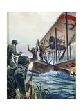 Italian Military Finance Police Stopping Austrian Seaplane  20th Century
