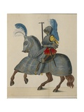 16th Century German Knight in Full Amour Scoring  Print  1842