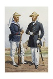 Lieutenant and Sailor of Landing Unit in China  Watercolor by E Goichon  1862