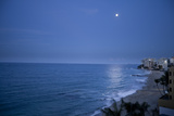 Full Moon Rise Over the Beach and Sea in Puerto Rico