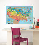 Kids USA Map Wall Decal Sticker