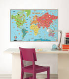 Kids World Map Wall Decal Sticker