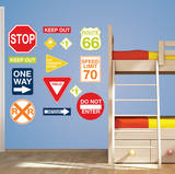 Road Signs Wall Art Decal Kit