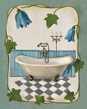 Bell Flower Bath I on Ivory