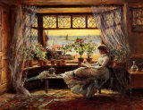 Reading by the Window Hastings Reproduction d'art par Charles James Lewis