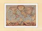 World Map from 18th Century Reproduction d'art par Bourgoin