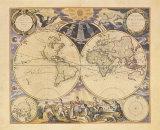 New World Map, c.1676 Reproduction d'art par Pieter Goos