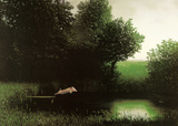 Le plongeon du cochon Reproduction d'art par Michael Sowa
