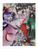 Le village et moi Reproduction d'art par Marc Chagall