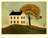 Maison avec drapeau Reproduction d'art par Warren Kimble