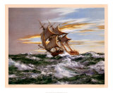 Dès l'aube contre vents et marée Reproduction d'art par Montague Dawson