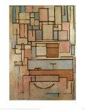 Compostion avec zones colorées œuvre par Piet Mondrian