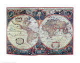 New Earth and Water Map of the Entire World Reproduction d'art