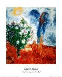 Couple au Dessus de St Paul Reproduction d'art par Marc Chagall