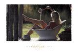 Cowgirl dans son bain Reproduction d'art par David R. Stoecklein