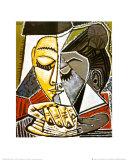 Tête d'une femme lisant Reproduction d'art par Pablo Picasso