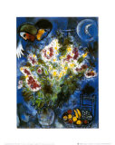 Nature morte aux fleurs Reproduction d'art par Marc Chagall