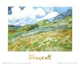 Champ de blésur fond demontagnes, 1889 Reproduction d'art par Vincent Van Gogh