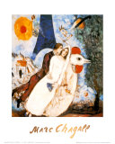 Les Fiancees de la Tour Eiffel Reproduction d'art par Marc Chagall