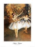 Deux danseuses sur scène Reproduction d'art par Edgar Degas