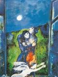 Les amoureux sous la lune Reproduction d'art par Marc Chagall