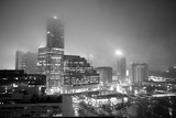 Cityscape of Buckhead  Atlanta in a Heavy Fog at Night