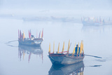 Rowboats with Colorful Flags in Fog at Sunrise on the Yamuna River