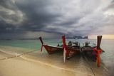 Thai Fishing Boats Beached on Phi Phi Island During a Storm