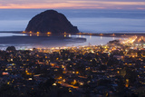 Morro Bay and Morro Rock at Dusk From Black Hills