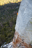 A Man Climbs Above the Scary and Difficult Route 'The Edge' on Tahquitz Rock