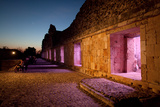 The Mayan Nunnery Quadrangle Ruin Illuminated at Night