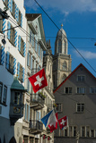 Architecture and Flags in Downtown Zurich