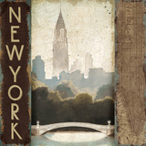 City Skyline New York Vintage Square