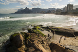 People Enjoy Arpoador Beach in View of Ipanema and Dois Irmaos
