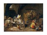 Monos En Una Bodega  17th Century  Flemish School