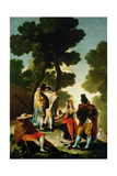 The Maja And the Cloaked Men  Or a Walk Through Andalusia  1777  Spanish School