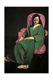 Laurette In a Green Robe  Black Background  1916