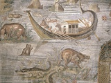 Detail of Crocodiles and Hippopotami on Nile Nilotic Mosaic