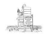 Caution: Minimum Wage Lifeguard on Duty - Cartoon
