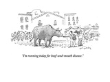 """I'm running today for hoof-and-mouth disease"" - Cartoon"