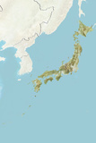 Japan  Relief Map with Border and Mask