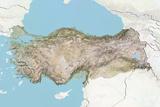 Turkey  Relief Map with Border and Mask