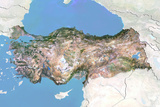 Turkey  Satellite Image with Bump Effect  with Border and Mask