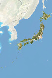 Japan  Satellite Image with Bump Effect  with Border and Mask